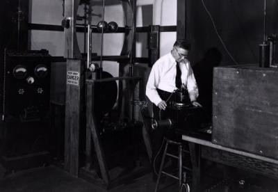 Willibald Weniger in an experimental x-ray laboratory, 1936.