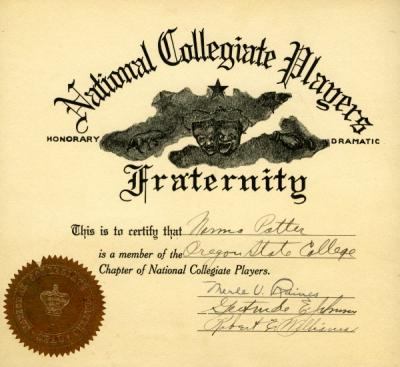National Collegiate Players Membership certificate awarded to Norma Potter, ca 1920s.
