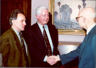 University Honors College Director Joe Hendricks and President Paul Risser (center) at a Triad Club meeting, 1996. Risser assumed the presidency of OSU in January 1996 after serving three years as President of Miami University in Ohio. In addition to his work in university administration, Risser also taught university level botany before coming to OSU. As President, Risser emphasized the need for increased marketing and student recruitment and retention at OSU.