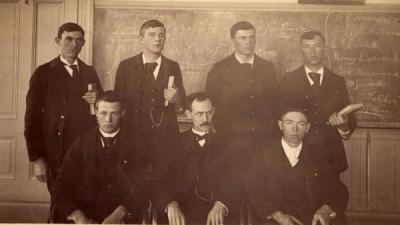 John Davidson Letcher with a calculus class, ca. 1890s.