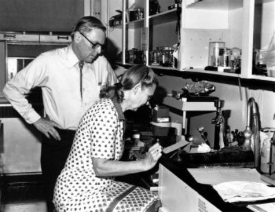 David and Clara Shoemaker working in an x-ray laboratory at Oregon State University, 1983.