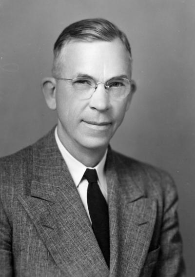 President A. L. Strand, 1947. August LeRoy Strand served as president of Oregon State University from 1942-1961. Strand helped create the Oregon State College Foundation in 1947 and introduced the idea of an OSU golf course.