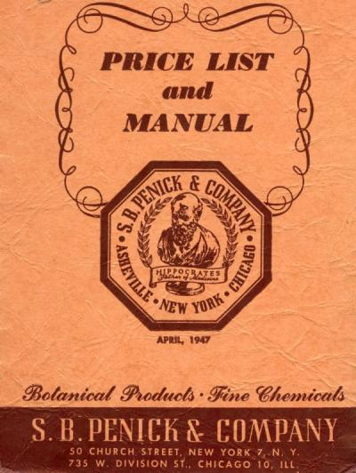 Price list and manual for botanical products and chemicals, April 1947.