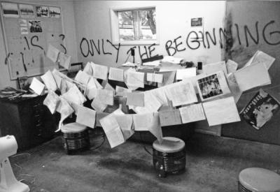 Mink farm disaster recovery, documents drying, June 1991.