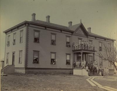 Alpha Hall, ca. 1890. Constructed by Samuel G. McFadden, Alpha Hall was the first residence hall on the OSU campus.