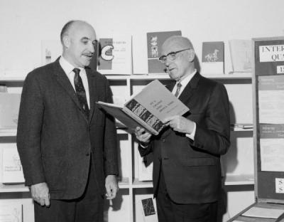 J. Kenneth Munford and Delmar Goode examining OSU Press materials, ca. 1968. From 1939-1941, Munford was an instructor in the English Department. In 1948 he became an editor for the Office of Publications, later being promoted to Director of Publications in 1956. Munford helped found the OSU Press in 1961. Delmer Goode became Assistant College Editor in 1919, eventually serving as the Director of University Publications from 1943-1956. In 1919, Goode also founded Troop 1 of the Boy Scouts of America.