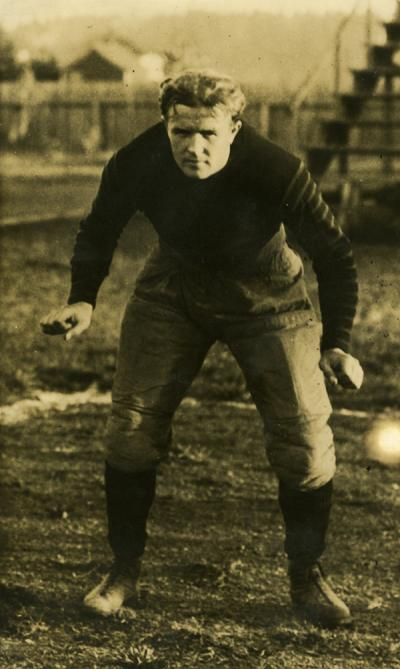 Charles Burton Winne, shown as a member of the Oregon Agricultural College football team. Winne graduated from OAC in 1924.