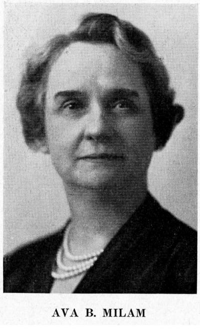 Ava B. Milam Clark, ca. 1946. Ava B. Milam came to OAC in 1911 and was appointed the Dean of the School of Home Economics in 1917, serving for 33 years. She was primarily interested in the study of home economics within Asian cultures. During WWI she was appointed as the Home Economics director for Oregon.