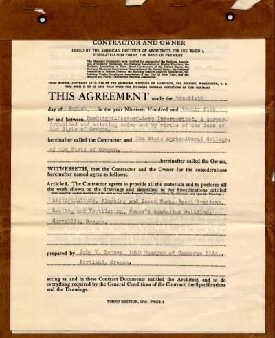 Contract outlining the terms of construction of the OAC women's gymnasium, ca. 1925.