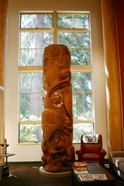 The 360-degree totem standing in the Eena Hawes Native American Longhouse, 2013.