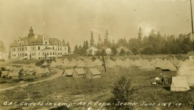 """O. A. C. cadets in camp, A. V. P. Expo, Seattle, June 5-9, 1909."""