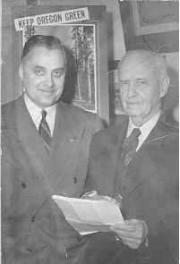 Dean Paul M. Dunn and George W. Peavy, 1949. Dunn served as Dean of Forestry from 1942 until 1955.