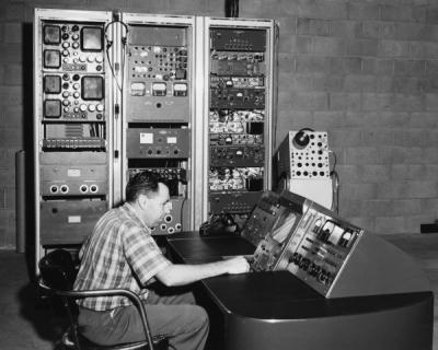 Ben Ballard at the KOAC-TV console, 1957. The console was located near the top of Vineyard Mountain, north of Corvallis, Oregon.