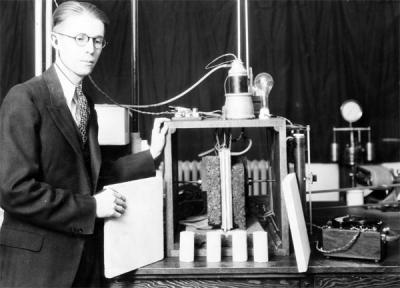 An unidentified man using Chemical Engineering laboratory equipment, ca 1930s.