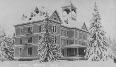 Fairbanks Hall snow scene, December 1919.