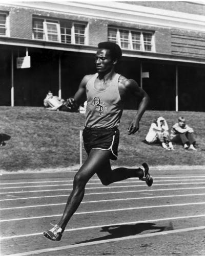 Hailu Ebba running the 800 meters, 1972. Ebba finished in a time of 1:48.9 in this race, a duel against the University of Washington. At that juncture, Ebba's time was the best on the West Coast for 1972.