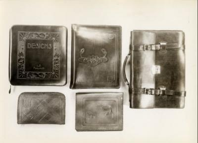Examples of leather craft, ca 1940s.