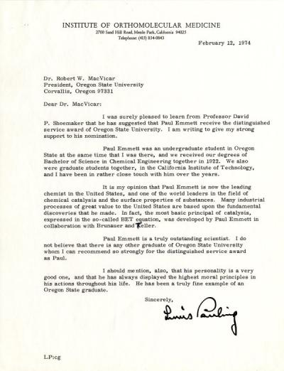Letter from Linus Pauling to OSU President Robert MacVicar concerning the nomination of Paul Emmett for OSU's Distinguished Service Award, February 1974.