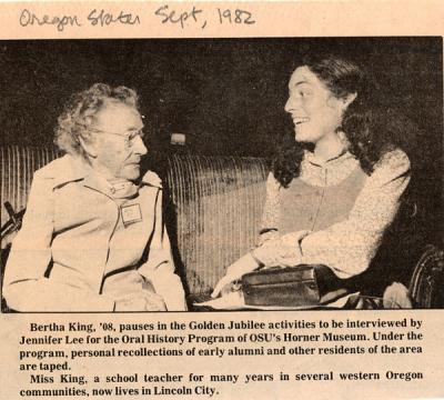 OAC alumnus Bertha King in conversation with Jennifer Lee, Horner Museum oral historian. September 1982.