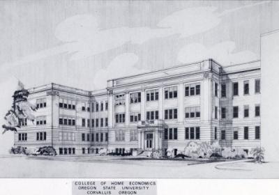 Building sketch, College of Home Economics, ca 1950s.