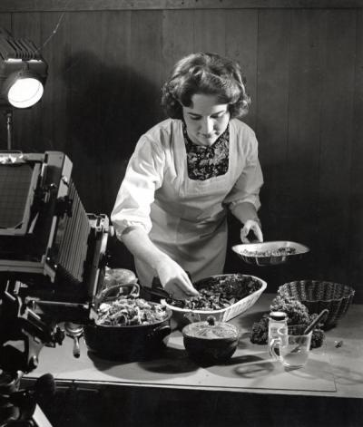 Demonstration of food preparation, ca. 1950s.