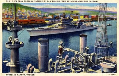 Postcard depicting the view of the U. S. S. Indianapolis saluting Battleship Oregon, Portland Harbor, Oregon.