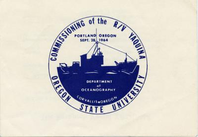 Logo commemorating the commissioning of the R/V Yaquina, September 1964.