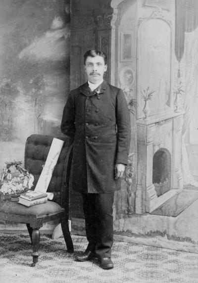 James Collins, 1888. Collins was one of the first Native American students at Oregon State University. He was affiliated with the Siletz Tribe and graduated in 1888.