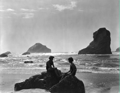 Two women at Bandon Beach on the Oregon coast, ca 1940s.