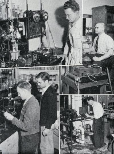Images of graduate students studying in the fields of chemical, electrical, and mechanical engineering - departments that had had professional degrees granted in the previous year, 1937.