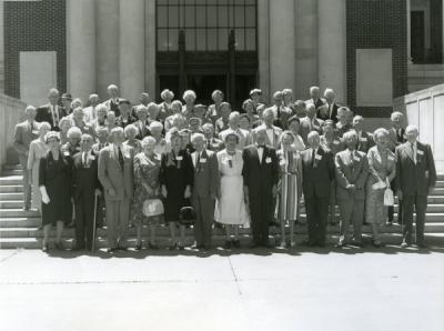 Fifty year reunion of the class of 1910, summer 1960. Beulah Gilkey is located fourth row from front, fifth from left.