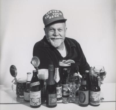 Fred Eckhardt with the beers he loved, 1992