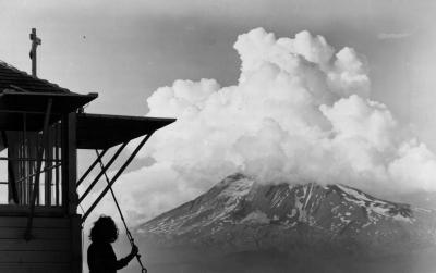 Thunderhead over Mt. Adams, as seen from East Flat Top Lookout, June-July 1945