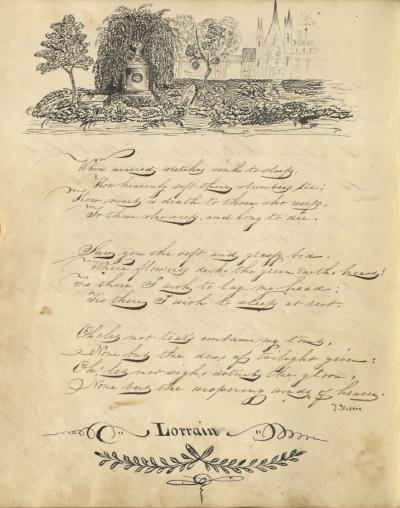 An ink drawing and verse from the Henrietta Singer Autograph Book, circa 1830.