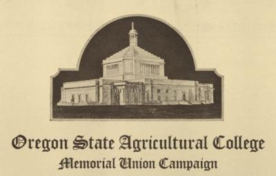 Preliminary rendering of the Memorial Union as used in campaign stationary and other materials, 1925