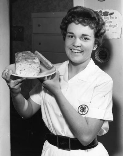 Banana nut bread cooking, 1961