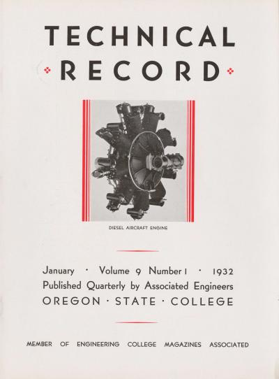 January 1932 cover of the Oregon State Technical Record.