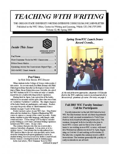 Teaching with Writing Newsletter, Spring 2003
