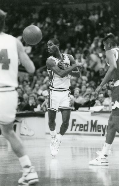 A no-look pass from Gary Payton at the Far West Classic, ca. 1989.