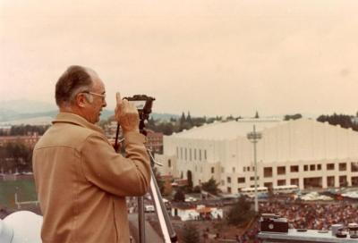Robert Henderson photographing the OSU Band at Parker Stadium