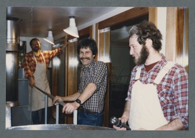 Art Larrance, Fred Bowman and Frank commanday test Portland Brewing's first brew