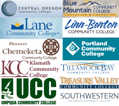 Logos of 11 of Oregon's community colleges