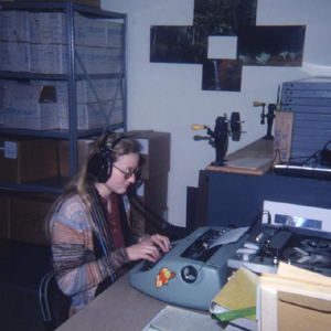 OSU Archives employee Ilona Fry transcribing an oral history interview with a typewriter, ca. 1979.