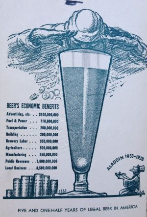 Infographic touting the economic benefits of beer, 1938.