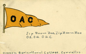 Oregon Agricultural College (OAC) pennant postcard.