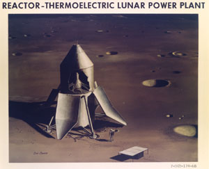 Artist's depiction of a Reactor-Thermoelectric Lunar Power Plant, ca. 1960s.