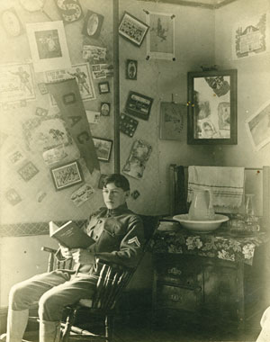 An OAC cadet in his dormitory room, ca. 1905.
