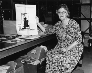 Harriet Moore, the first Oregon State University Archivist, 1965.