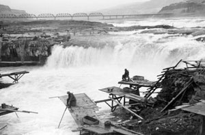 Fishermen at Celilo Falls, Columbia River Gorge, ca. 1950s.