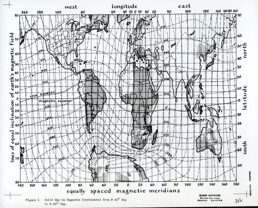 Special collections archives research center illustration of a illustration of a world map in magnetic coordinates gumiabroncs Choice Image